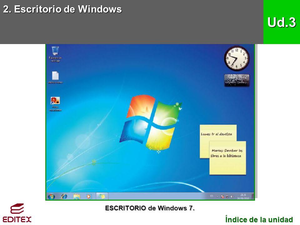 Ud.3 2. Escritorio de Windows Índice de la unidad