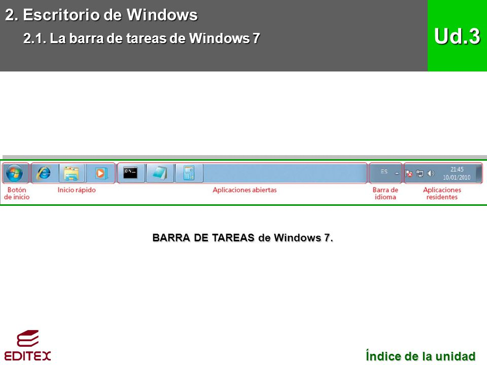 Ud.3 2. Escritorio de Windows 2.1. La barra de tareas de Windows 7