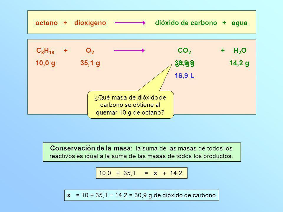 ¿Qué masa de dióxido de carbono se obtiene al quemar 10 g de octano
