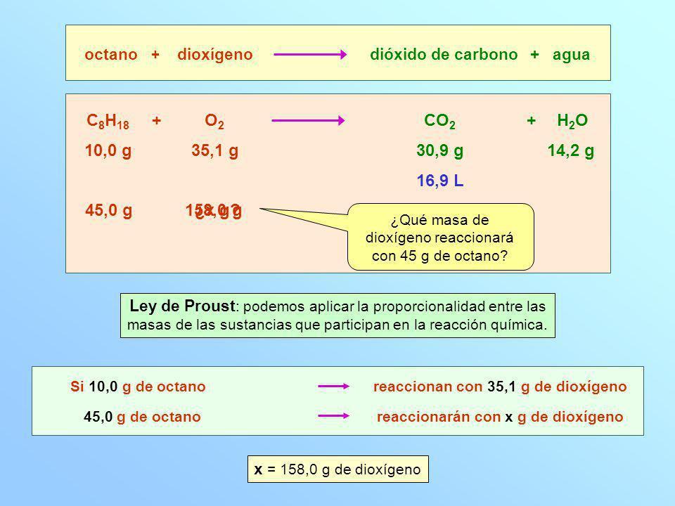 ¿Qué masa de dioxígeno reaccionará con 45 g de octano