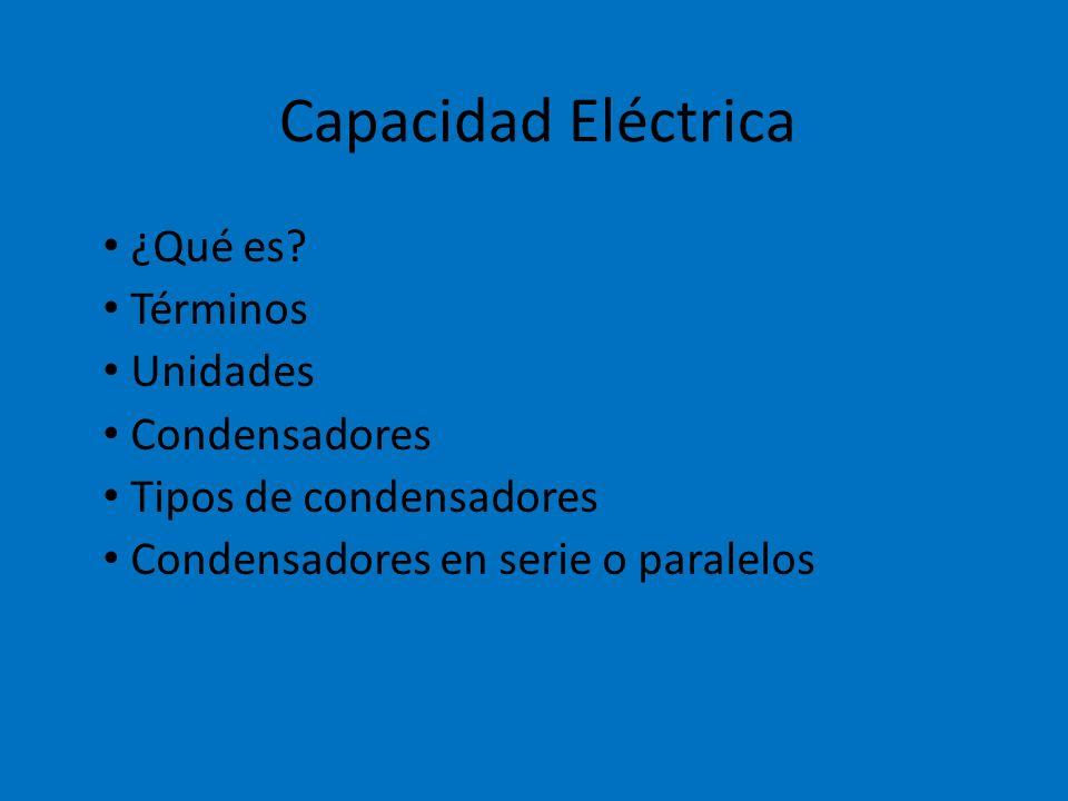 Capacidad Eléctrica ¿Qué es Términos Unidades Condensadores