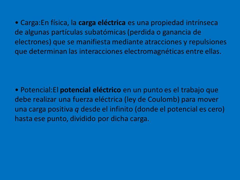 Carga:En física, la carga eléctrica es una propiedad intrínseca de algunas partículas subatómicas (perdida o ganancia de electrones) que se manifiesta mediante atracciones y repulsiones que determinan las interacciones electromagnéticas entre ellas.