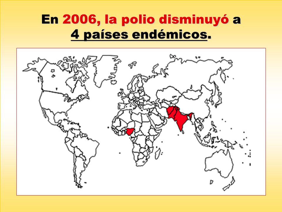 En 2006, la polio disminuyó a 4 países endémicos.