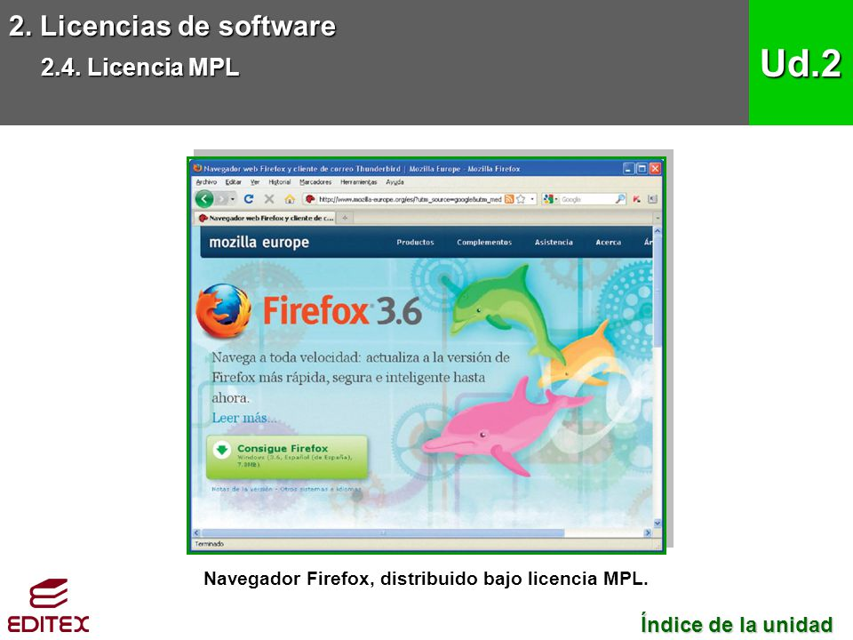 Navegador Firefox, distribuido bajo licencia MPL.