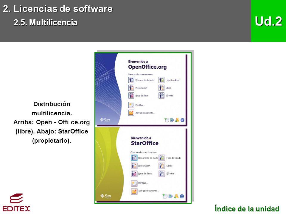 Ud.2 2. Licencias de software 2.5. Multilicencia Índice de la unidad