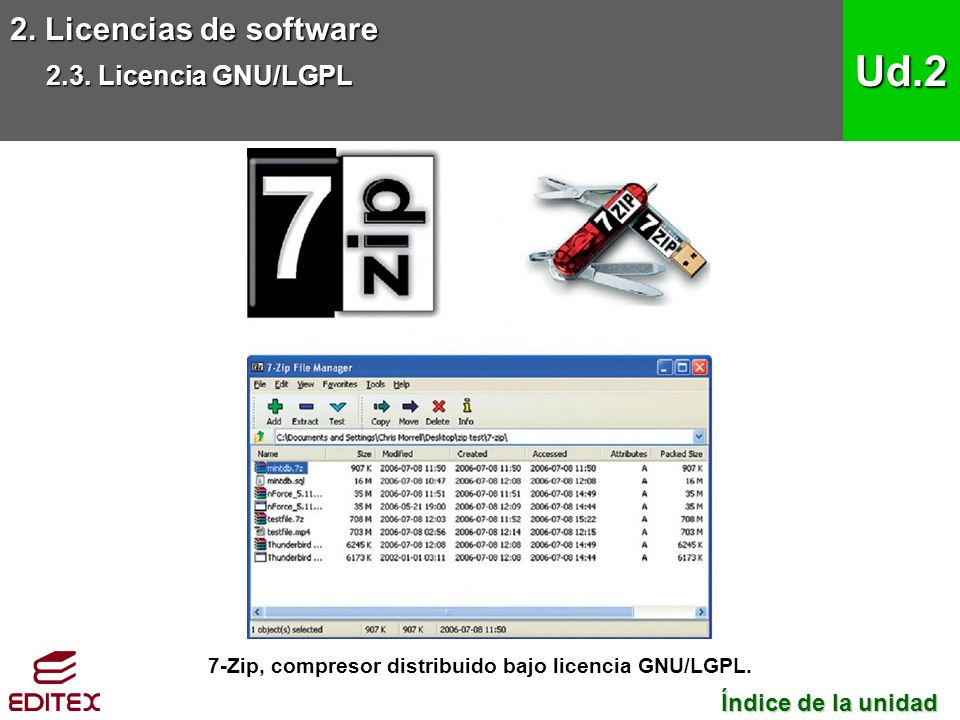 7-Zip, compresor distribuido bajo licencia GNU/LGPL.