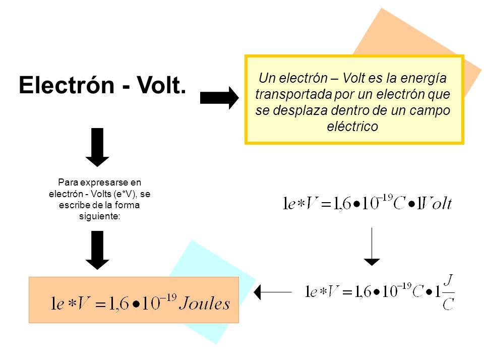 Electrón - Volt. Un electrón – Volt es la energía transportada por un electrón que se desplaza dentro de un campo eléctrico.