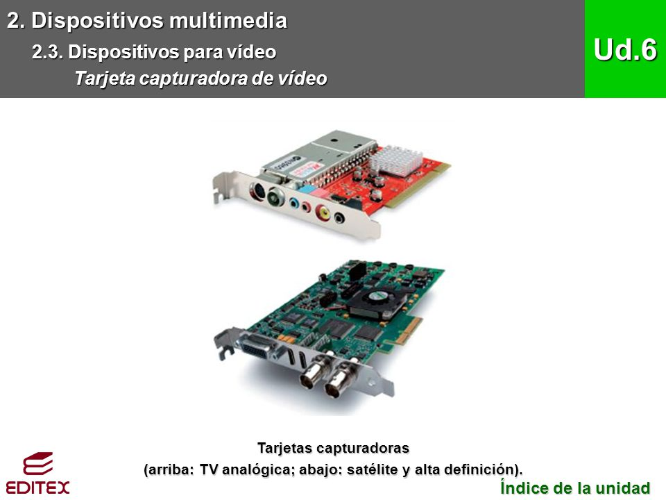 Ud.6 2. Dispositivos multimedia 2.3. Dispositivos para vídeo