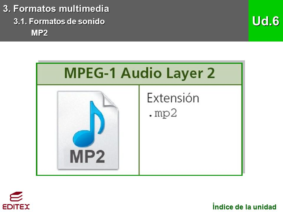 Ud.6 3. Formatos multimedia 3.1. Formatos de sonido MP2