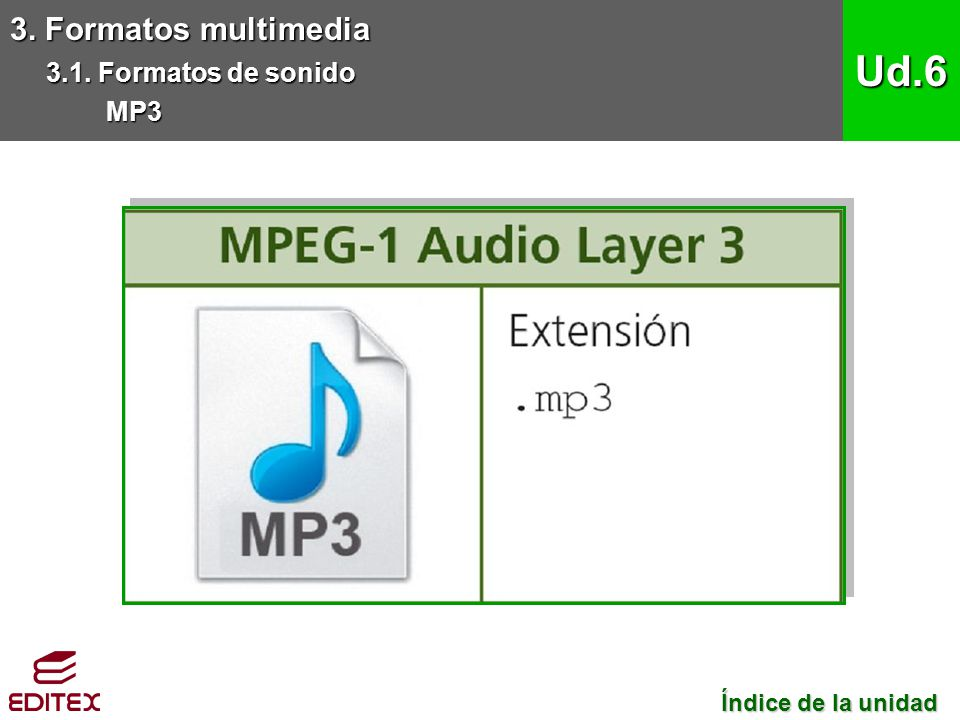 Ud.6 3. Formatos multimedia 3.1. Formatos de sonido MP3