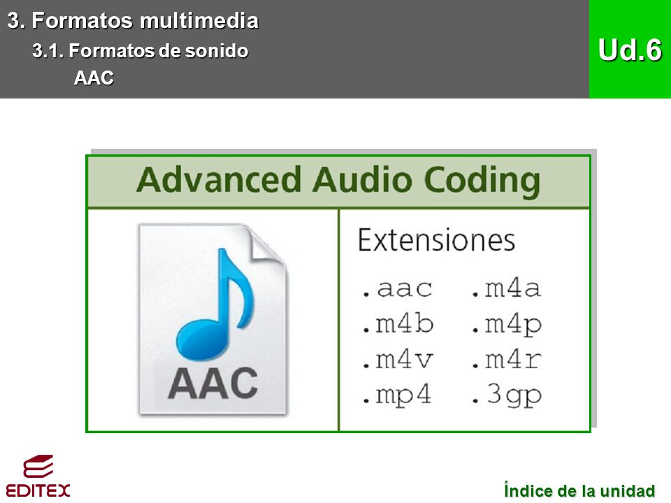 Ud.6 3. Formatos multimedia 3.1. Formatos de sonido AAC
