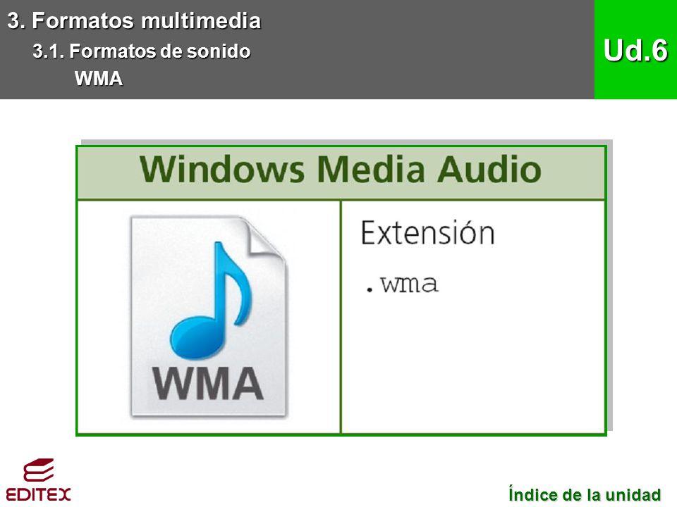 Ud.6 3. Formatos multimedia 3.1. Formatos de sonido WMA