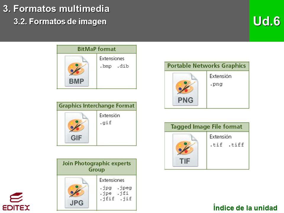 Ud.6 3. Formatos multimedia 3.2. Formatos de imagen
