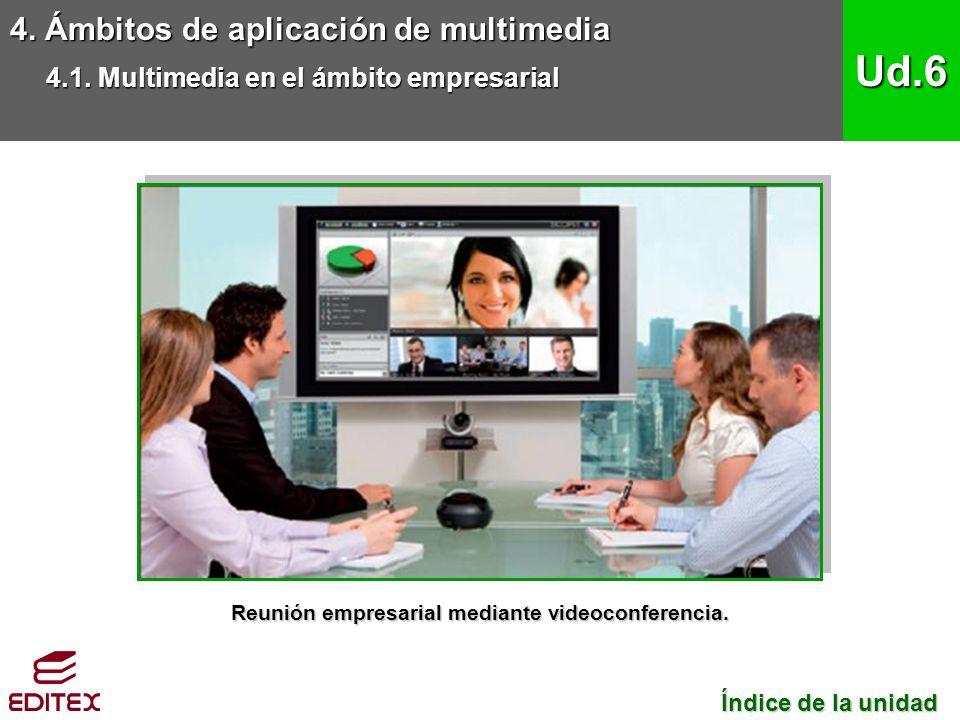 Reunión empresarial mediante videoconferencia.