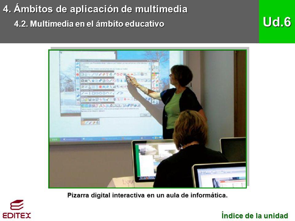 Pizarra digital interactiva en un aula de informática.