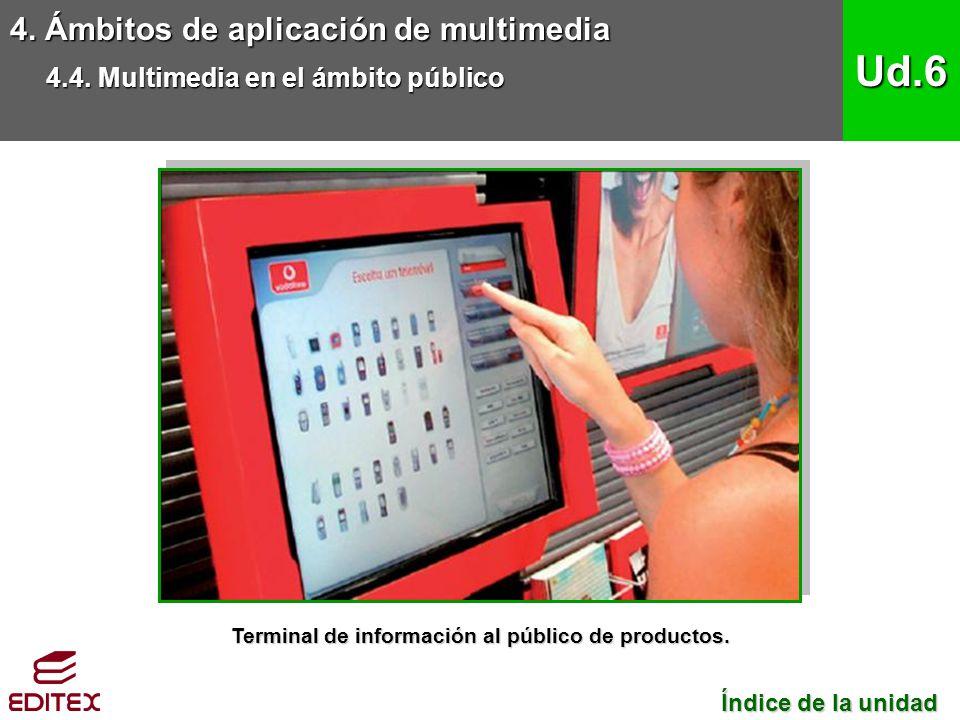 Terminal de información al público de productos.