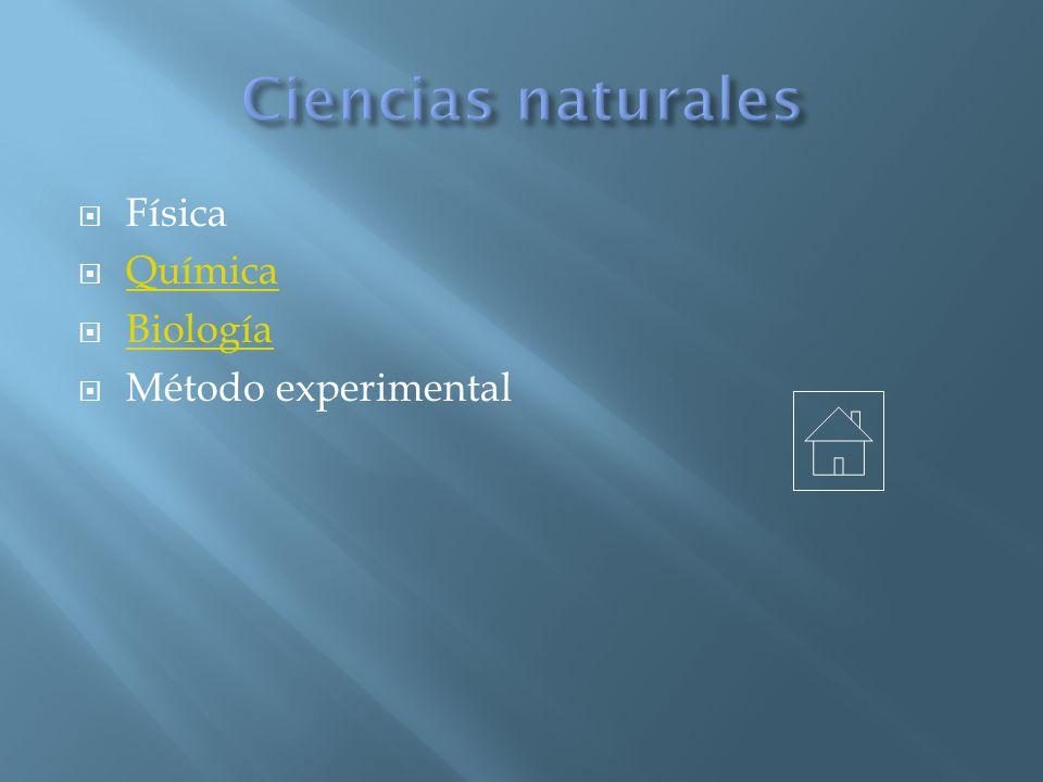 Ciencias naturales Física Química Biología Método experimental