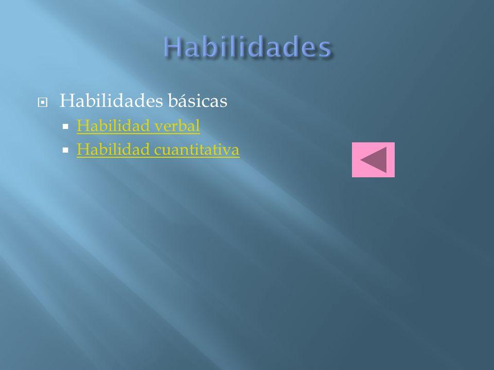 Habilidades Habilidades básicas Habilidad verbal
