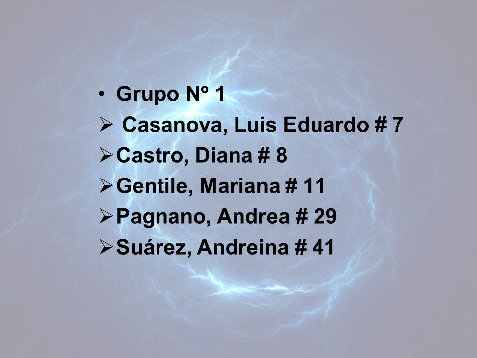 Grupo Nº 1 Casanova, Luis Eduardo # 7. Castro, Diana # 8. Gentile, Mariana # 11. Pagnano, Andrea # 29.