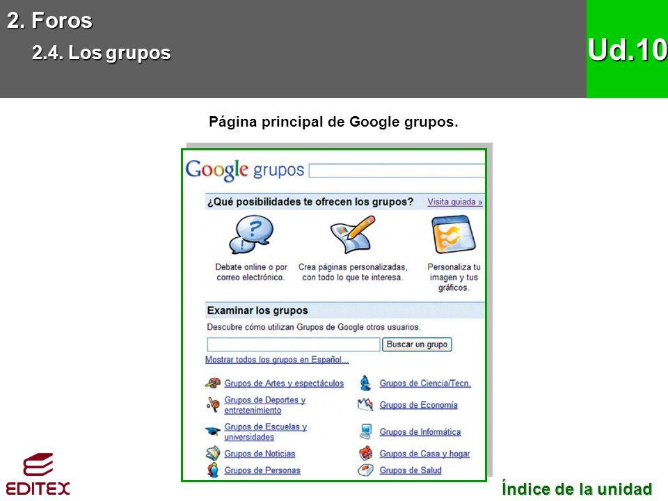 Página principal de Google grupos.
