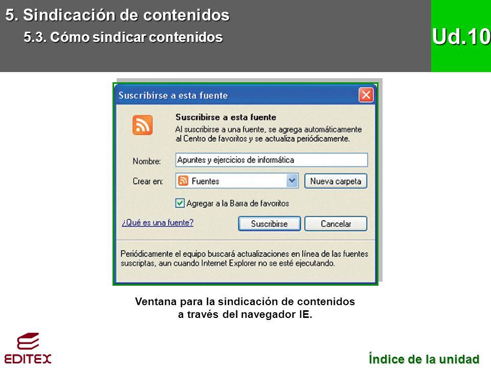 Ventana para la sindicación de contenidos a través del navegador IE.