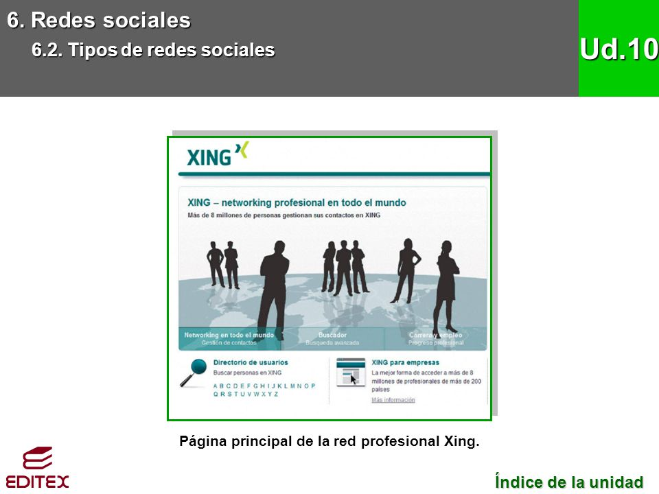Página principal de la red profesional Xing.