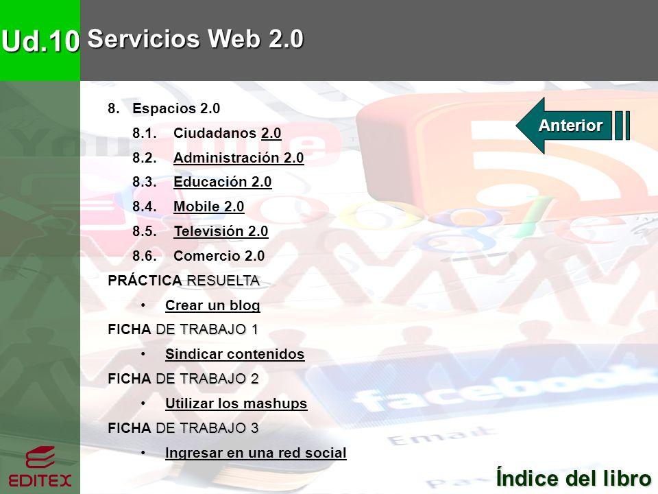 Ud.10 Servicios Web 2.0 Índice del libro Anterior 8. Espacios 2.0