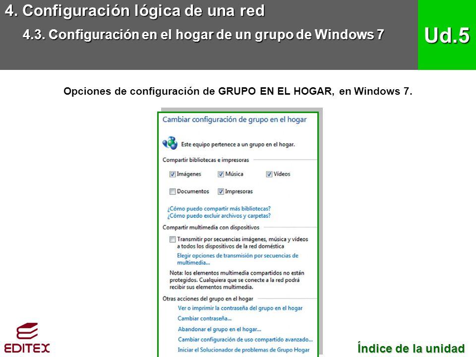 Opciones de configuración de GRUPO EN EL HOGAR, en Windows 7.