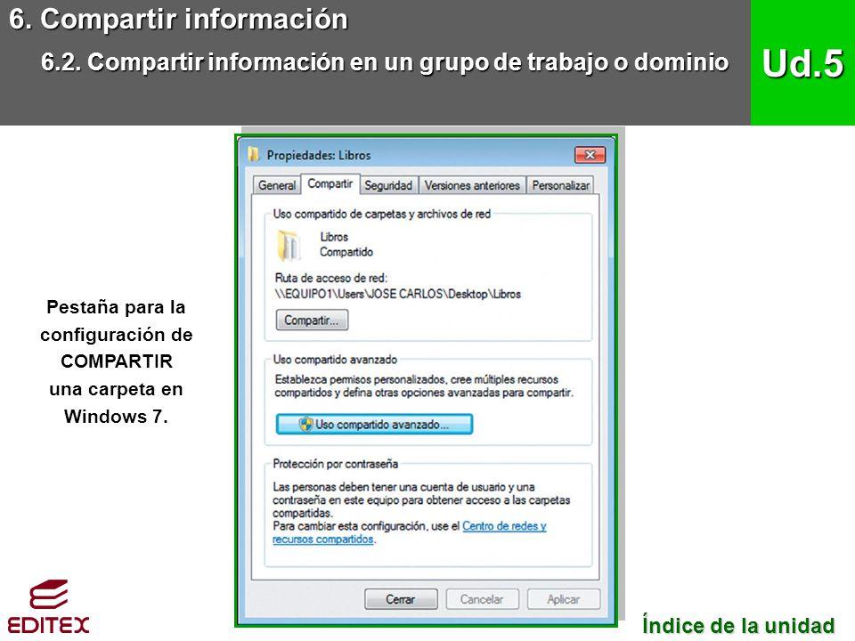 Pestaña para la configuración de COMPARTIR