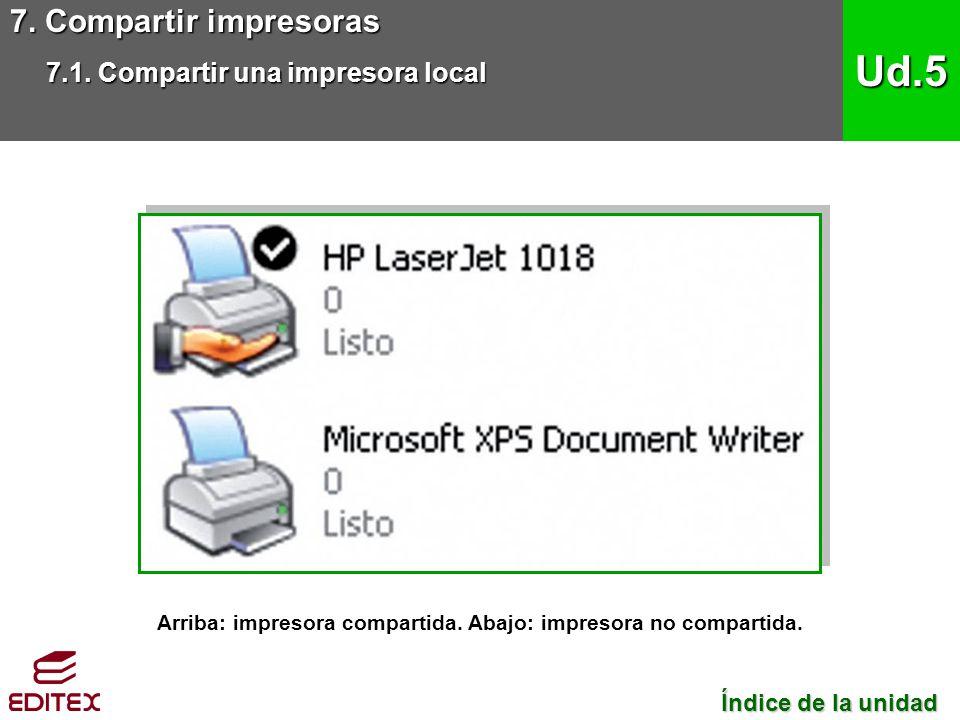 Arriba: impresora compartida. Abajo: impresora no compartida.