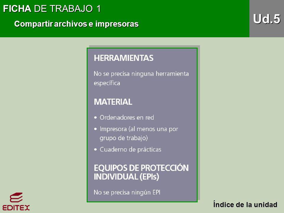 Ud.5 FICHA DE TRABAJO 1 Compartir archivos e impresoras