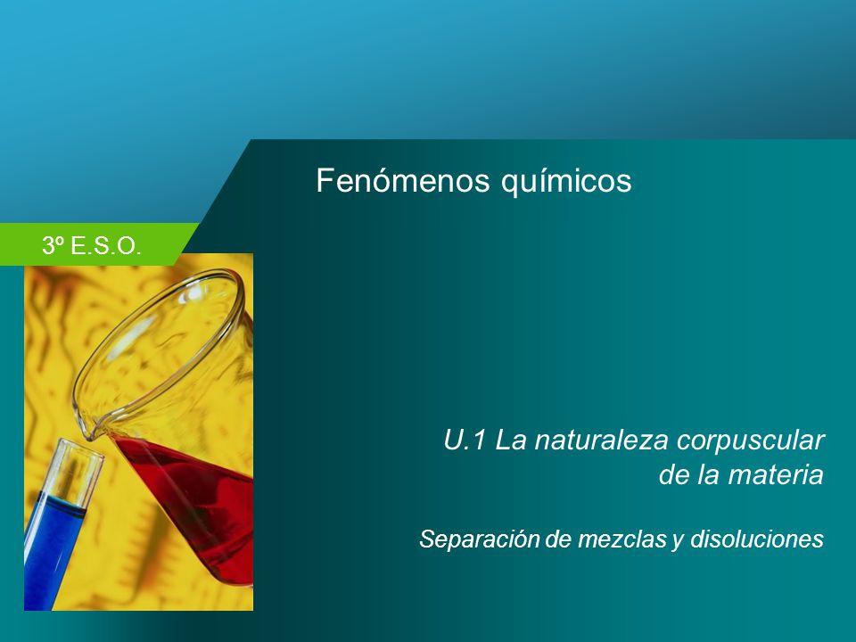 Fenómenos químicos U.1 La naturaleza corpuscular de la materia