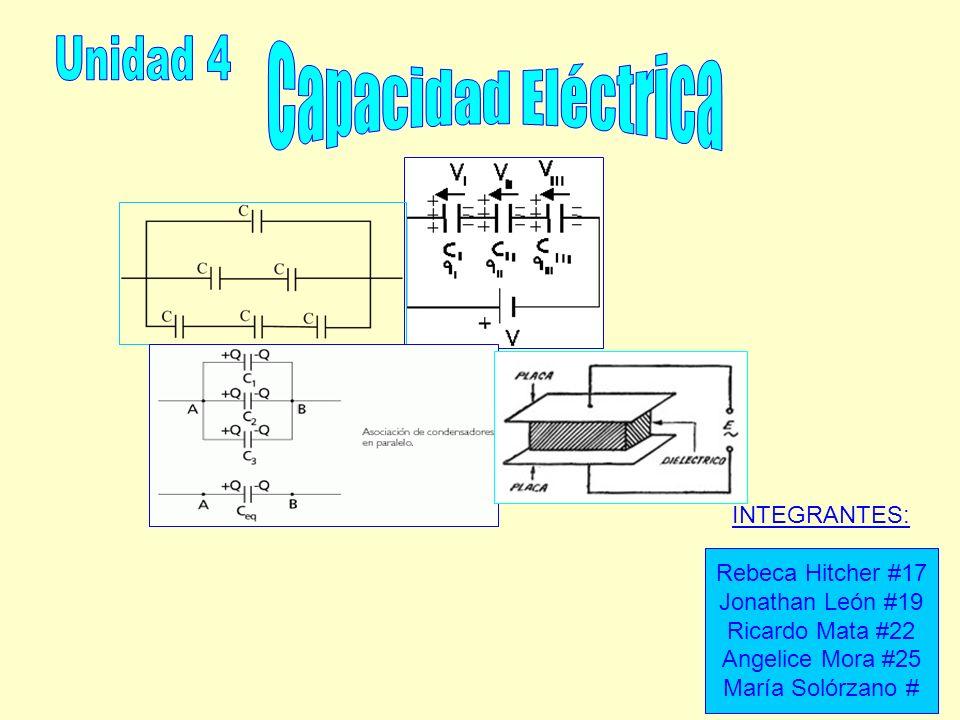 Unidad 4 Capacidad Eléctrica INTEGRANTES: Rebeca Hitcher #17