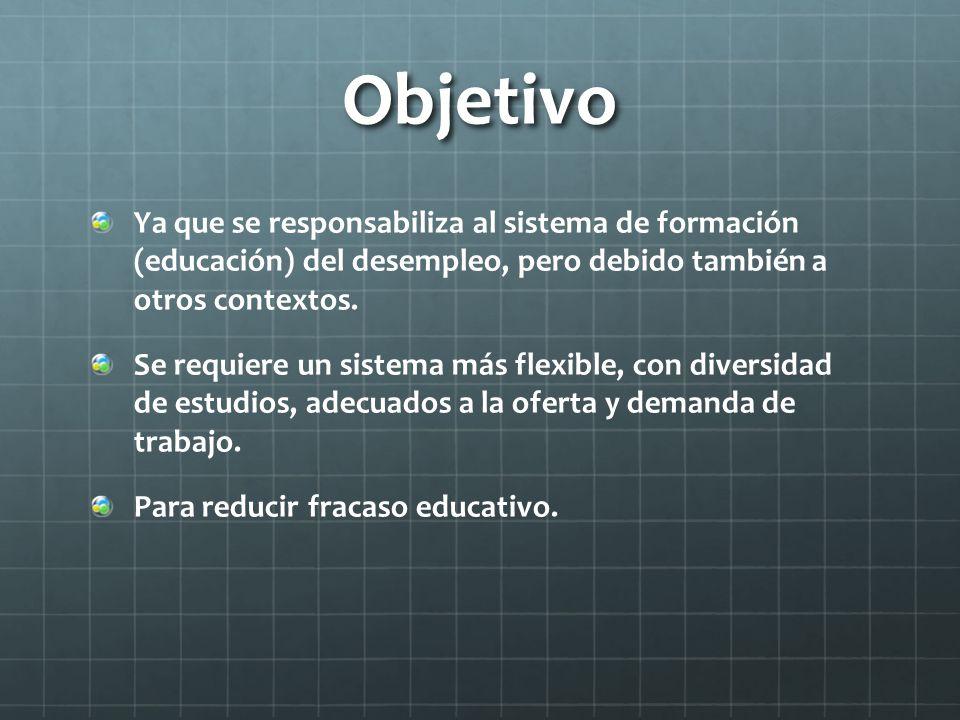Objetivo Ya que se responsabiliza al sistema de formación (educación) del desempleo, pero debido también a otros contextos.