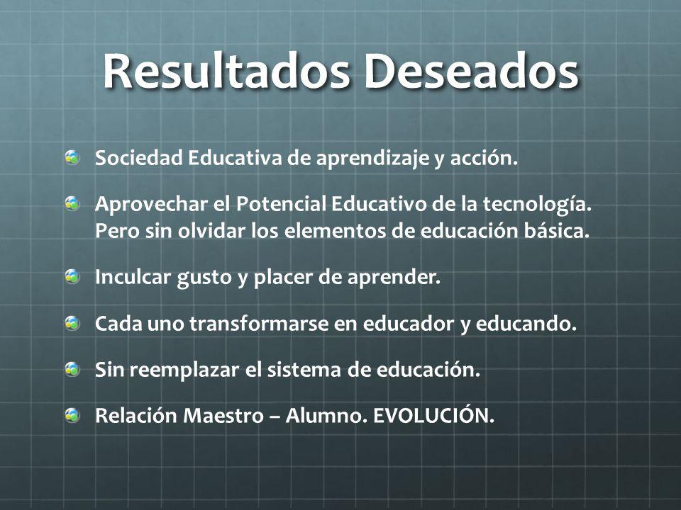 Resultados Deseados Sociedad Educativa de aprendizaje y acción.
