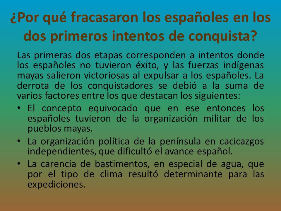 ¿Por qué fracasaron los españoles en los dos primeros intentos de conquista