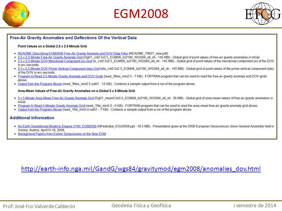 EGM2008 http://earth-info.nga.mil/GandG/wgs84/gravitymod/egm2008/anomalies_dov.html. Prof: José Fco Valverde Calderón.