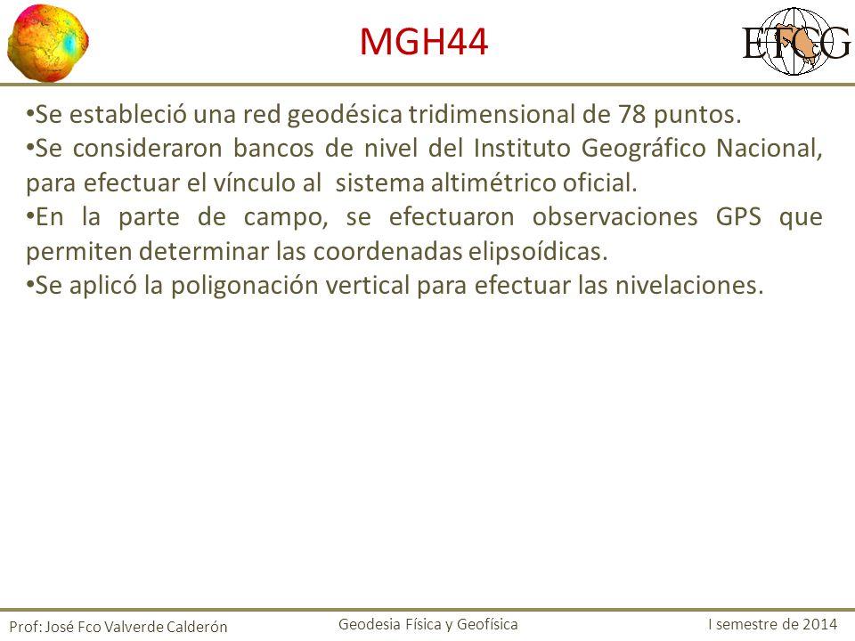 MGH44 Se estableció una red geodésica tridimensional de 78 puntos.