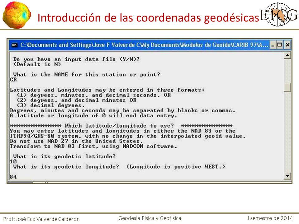 Introducción de las coordenadas geodésicas