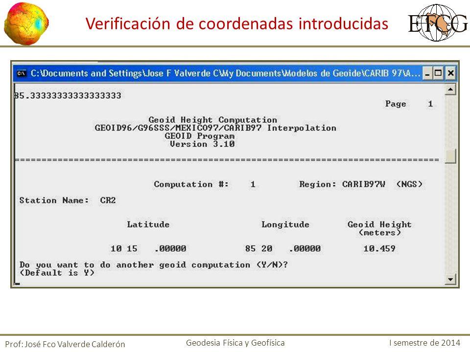 Verificación de coordenadas introducidas