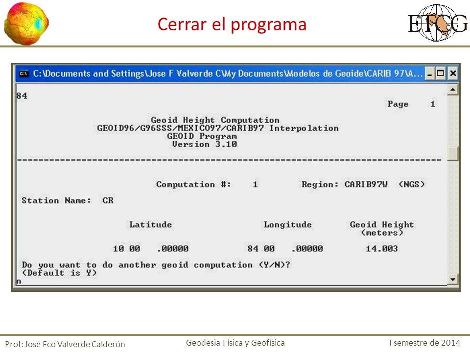 Cerrar el programa Prof: José Fco Valverde Calderón