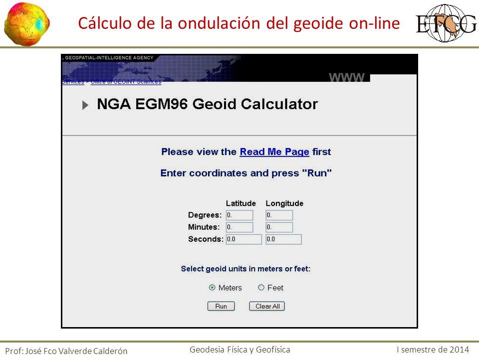 Cálculo de la ondulación del geoide on-line