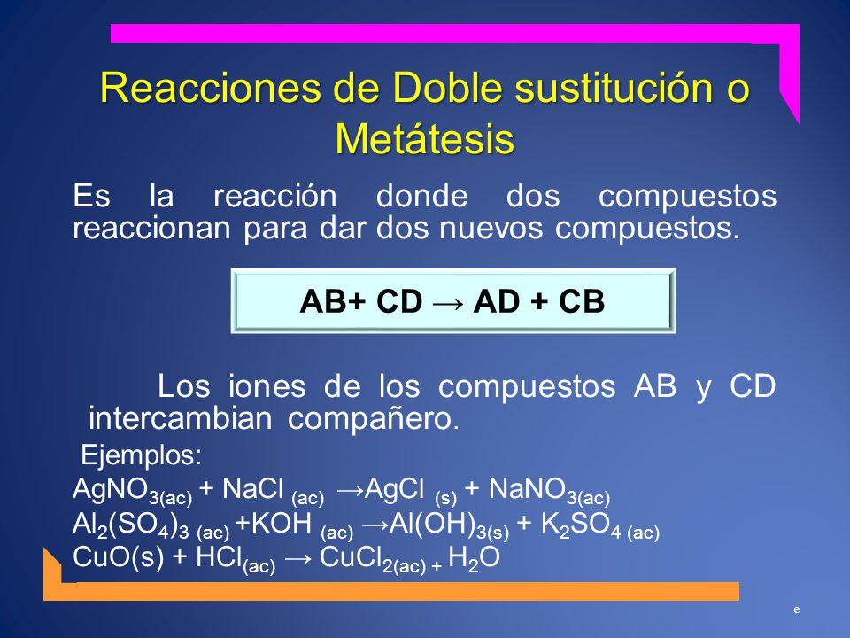 Reacciones de Doble sustitución o Metátesis