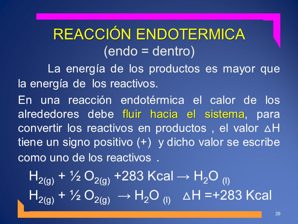 REACCIÓN ENDOTERMICA (endo = dentro)