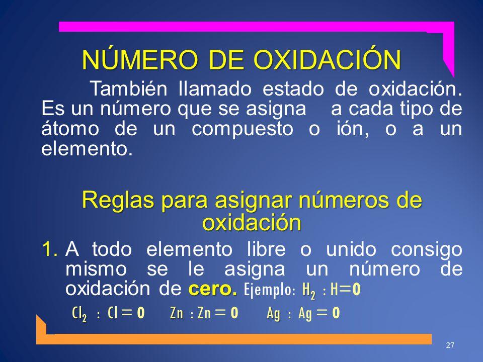 Reglas para asignar números de oxidación