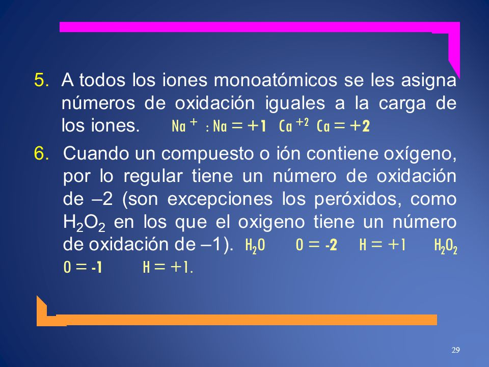 A todos los iones monoatómicos se les asigna números de oxidación iguales a la carga de los iones. Na + : Na = +1 Ca +2 Ca = +2