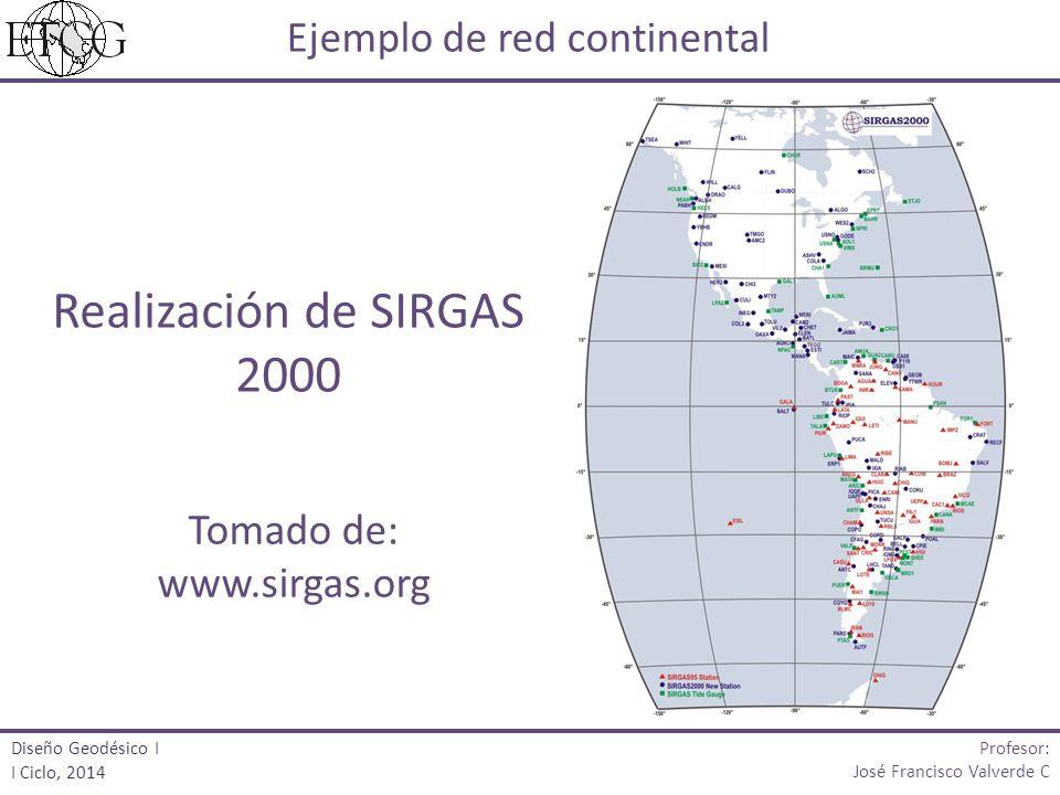 Realización de SIRGAS 2000 Ejemplo de red continental