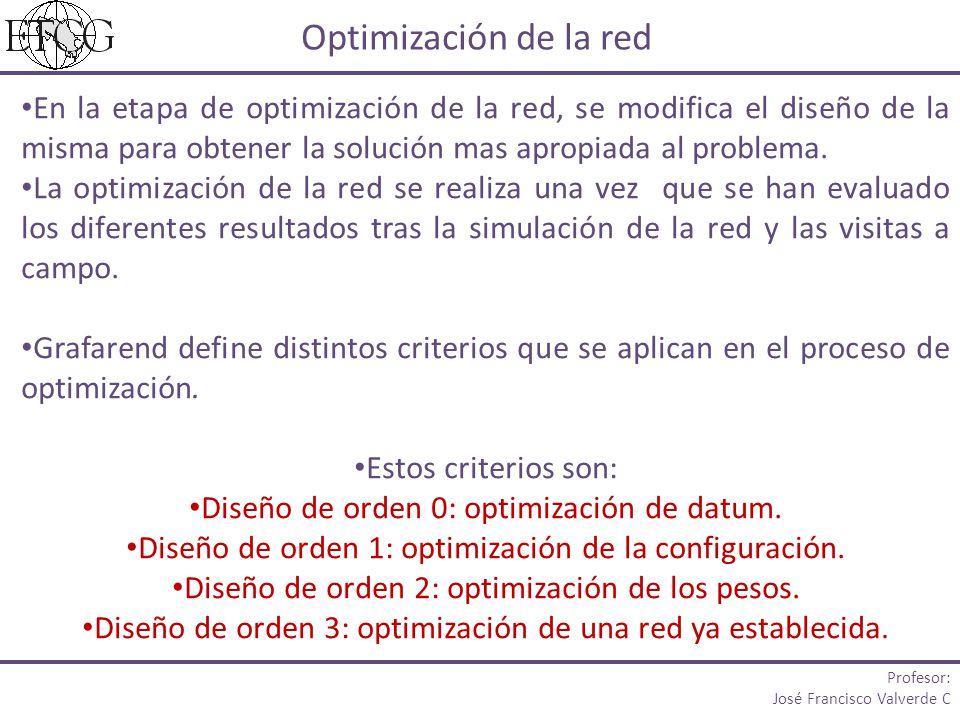 Optimización de la red En la etapa de optimización de la red, se modifica el diseño de la misma para obtener la solución mas apropiada al problema.