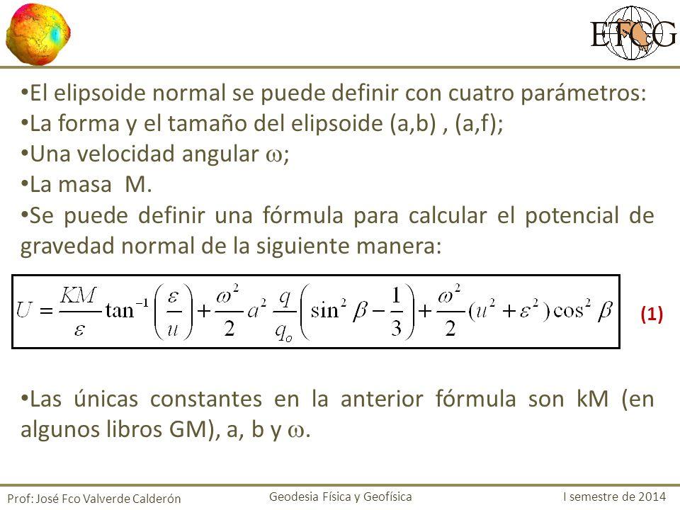 El elipsoide normal se puede definir con cuatro parámetros: