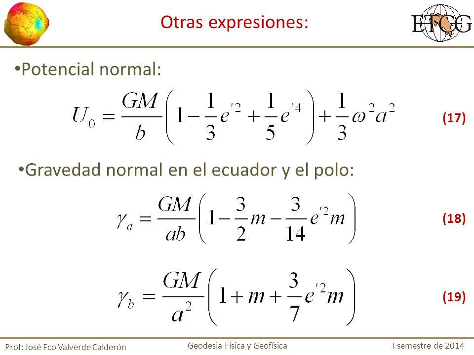Gravedad normal en el ecuador y el polo: